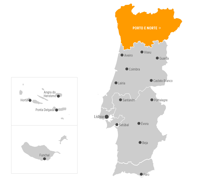 Destinos Wwwvisitportugalcom - Portugal norte map