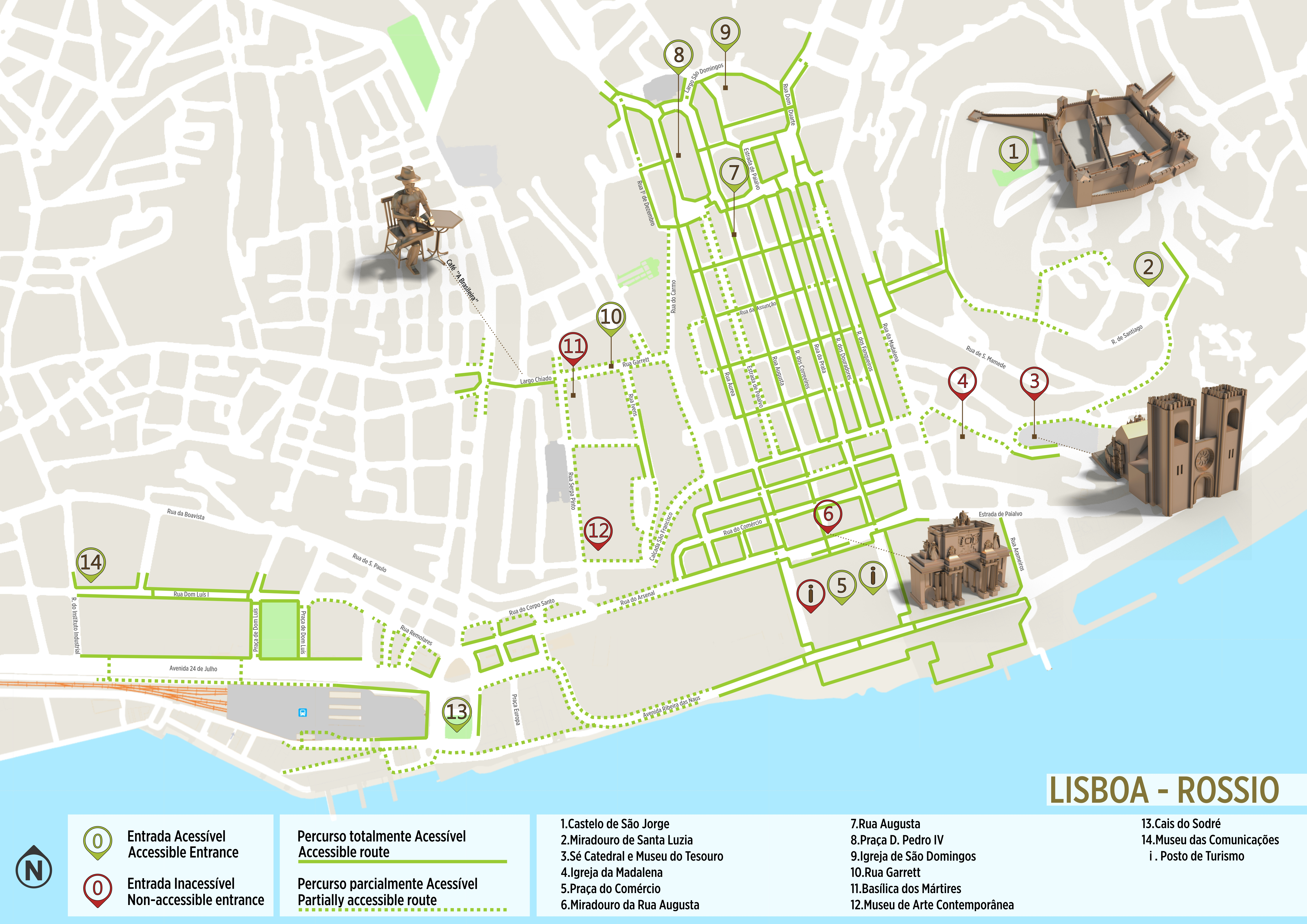 Rossio Lisbon Accessible Itinerary Map