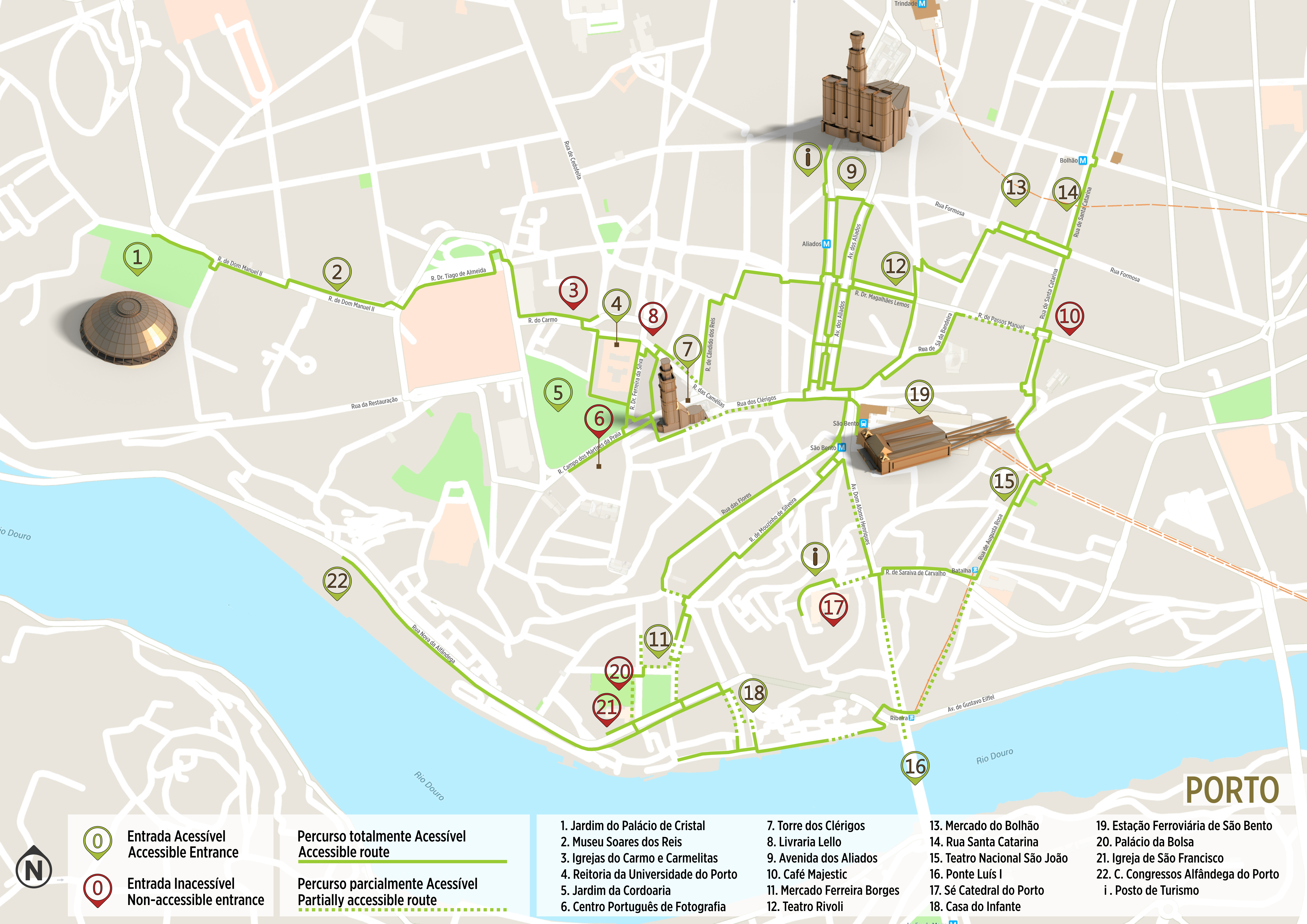 Porto Accessible Itinerary Map Www Visitportugal Com