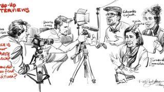 Urban Sketchers em Fátima - Rob Sketcherman&#10Ort: Fátima&#10Foto: Rob Sketcherman