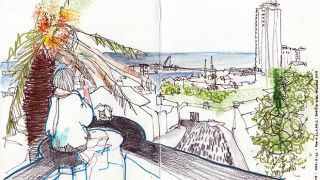 Urban Sketchers nos Açores - Jenny Adam&#10Foto: Alexandra Baptista