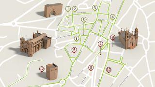 Mapa da Guarda - itinerário turístico acessível