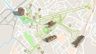 Mapa de Aveiro - Itinerário Acessível &#10Local: Aveiro&#10Foto: ICVM