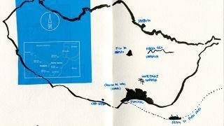 Urban Sketchers - Madeira - Ea Ejersbo - mapa&#10Lugar Madeira&#10Foto: Ea Ejersbo