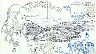 Urban Sketchers - Mário Linhares by Benedetta Dossi&#10Luogo: Parque Arqueológico de Foz Coa&#10Photo: Benedetta Dossi