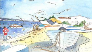 Urban Sketchers - Róisín - Praia do Farol 場所: Algarve 写真: Róisín Curé