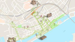 Mapa de Viana do Castelo - itinerário turístico acessível&#10Foto: ICVM