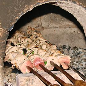 Beef kebab on a bay stick