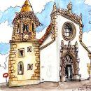 Urban Sketchers - Nelson Paciência - Igreja de São Baptista &#10Lugar Tomar&#10Foto: Nelson Paciência