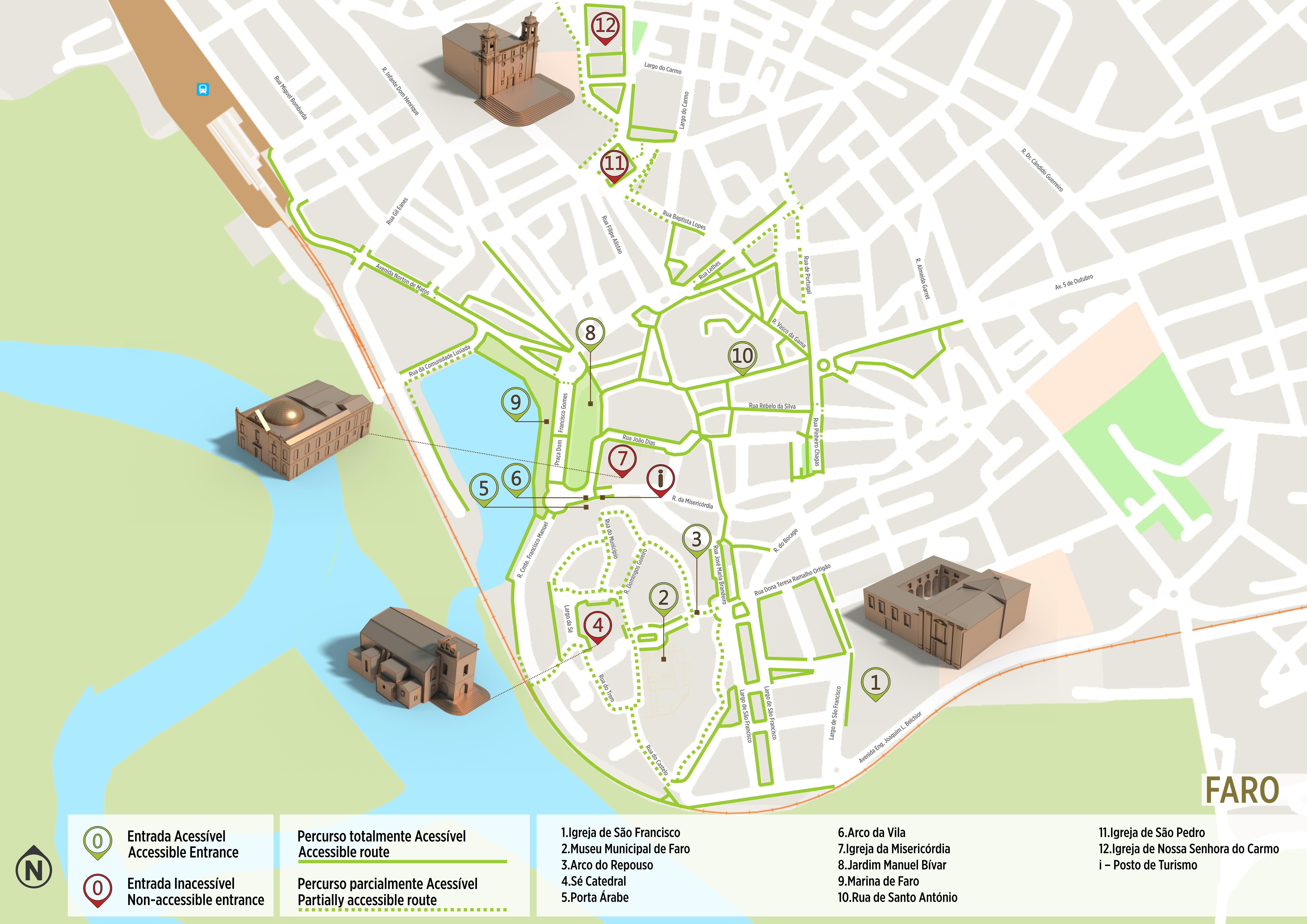 mapa ruas portugal Faro   Itinerário Acessível | .visitportugal.com mapa ruas portugal