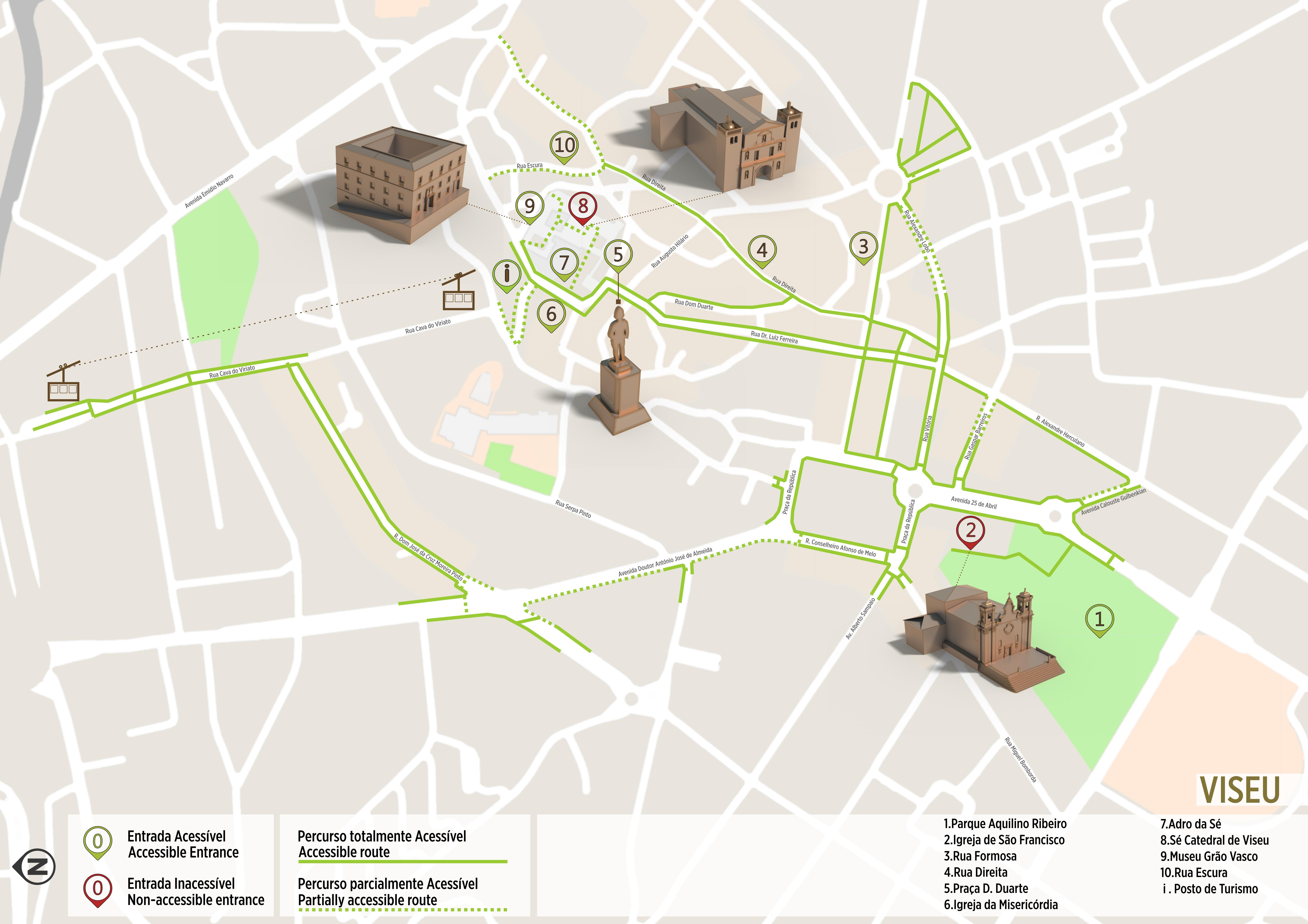 mapa das ruas de viseu Viseu   Itinerário Acessível | .visitportugal.com mapa das ruas de viseu