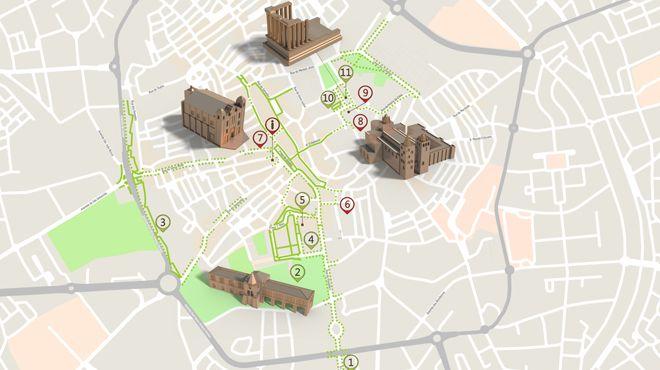 Mapa de Évora - Itinerário Turístico Acessível&#10Foto: ICVM / Turismo de Portugal