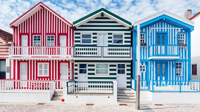Costa Nova Houses_Aveiro&#10Place: Costa Nova_Aveiro&#10Photo: shutterstock_ alexilena_Costa