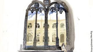 Urban Sketchers em Lisboa - Liz Watkins - Claustro dos Jerónimos&#10地方: Lisboa&#10照片: Lis Watkins