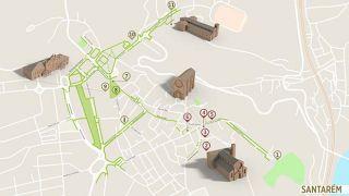 Mapa de Santarém - itinerário turístico acessível