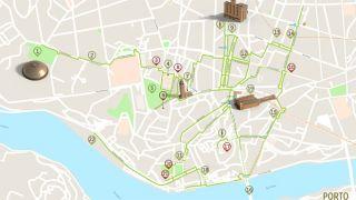 Mapa do Porto - Itinerário Acessível&#10Foto:ICVM