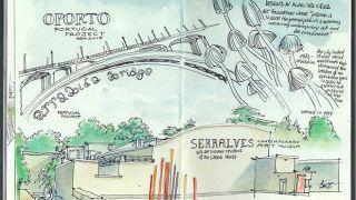 Urban Sketchers - Benedetta Dossi - Serralves&#10Place: Porto&#10Photo: Benedetta Dossi
