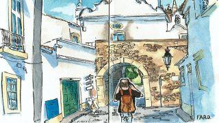 Urban Sketchers - Hélio Boto - Faro - &#10Plaats: Algarve&#10Foto: Hélio Boto
