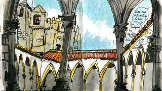 Urban Sketchers - Inma Serrano - Convento de Cristo&#10Место: Tomar&#10Фотография: Inma Serrano
