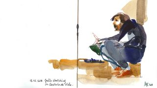 Urban Sketchers - João Moreno by Marion Rivolier &#10Place: Alentejo&#10Photo: Marion Rivolier