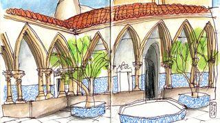 Urban Sketchers - Nelson Paciência - Convento de Cristo&#10Lugar Tomar&#10Foto: Nelson Paciência