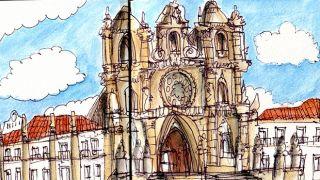 Urban Sketchers - Nelson Paciência - Mosteiro de Alcobaça &#10Luogo: Alcobaça&#10Photo: Nelson Paciência