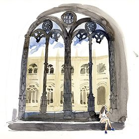 Urban Sketchers em Lisboa - Lis Watkins - Mosteiro dos JerónimosМесто: LisboaФотография: Lis Watkins