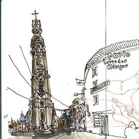 Urban Sketchers - Mário Linhares - Torre dos ClérigosМесто: PortoФотография: Mário Linhares