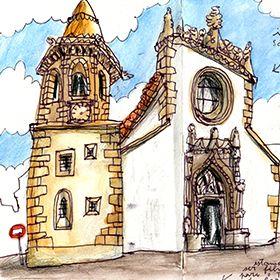 Urban Sketchers - Nelson Paciência - Igreja de São Baptista Local: TomarFoto: Nelson Paciência