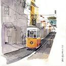 Urban Sketchers em Lisboa - Lis Watkins - Bica&#10Lieu: Lisboa&#10Photo: Lis Watkins