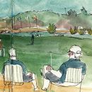 Urban Sketchers - Ida Bellarian - Portugal Masters &#10場所: Algarve&#10写真: Ida Bellarian