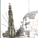 Urban Sketchers - Mário Linhares - Torre dos Clérigos&#10Plaats: Porto&#10Foto: Mário Linhares